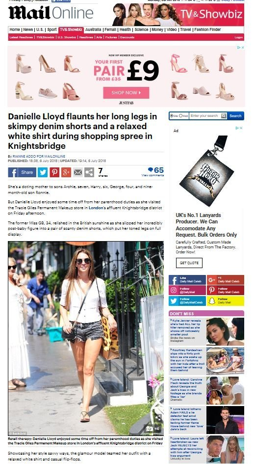 Daily Mail Danielle Lloyd