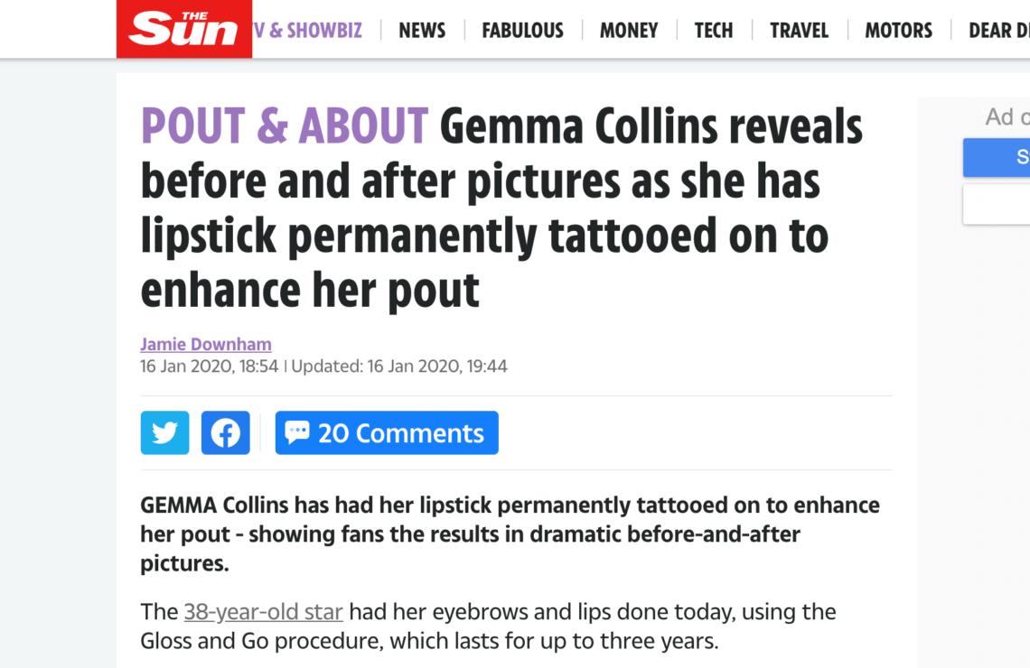The Sun Gemma Collins Lipstick Tattoo
