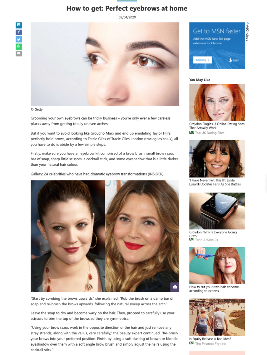 MSN Lifestyle How to get perfect eyebrows at home
