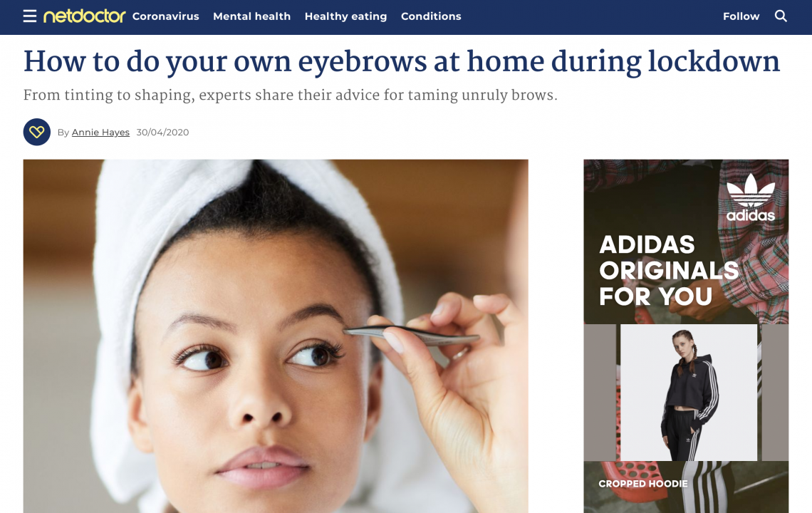 netdoctor 'How to do your own eyebrows at home'