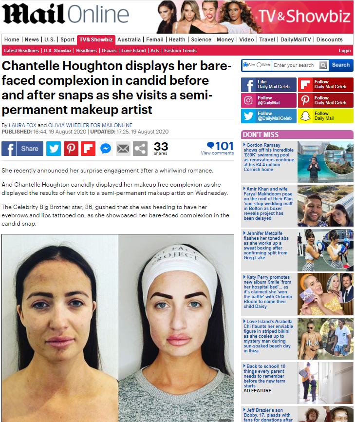 Chantelle Houghton's before and after Tracie Giles Transformation